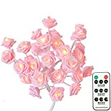 Bedroom Pink Rose Flower Table Lamp Night Light with Remote,USB/Battery Powered Desk Lamp Ambient Light for Restaurant Home Office Reception Hotel Decorations[24 Warm White LED Lights,3 Mode,Dimmable]