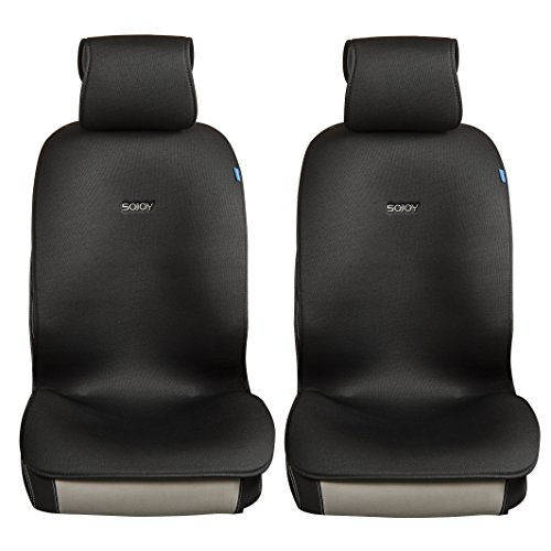 Sojoy Universal Four Season Fashionable Car Seat Cushion Cover for Front of 2 Seats (Black)