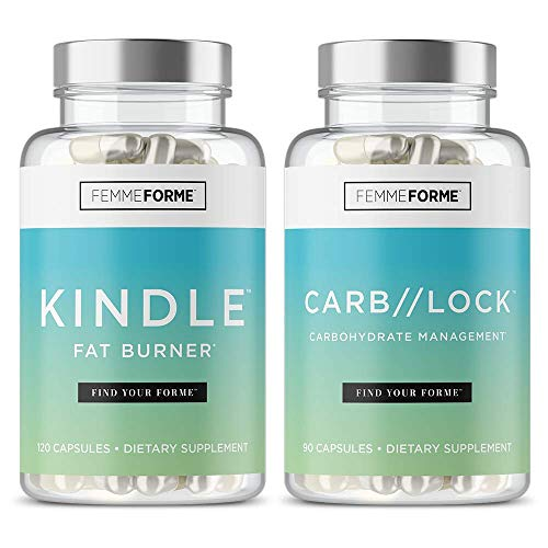 Femme Forme Kindle and CARB Lock Weight Loss Bundle for Women: Top Rated Diet Pills and Weight Loss for Women, Fat Burner Combo to Boost Metabolism, Burn Body Fat, Reduce Appetite and Block Carbs