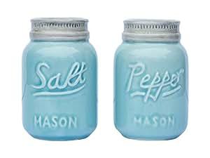 Vintage Mason Jar Salt & Pepper Shakers by Comfify - Adorable Decorative Mason Jar Décor for Vintage, Rustic, Shabby Chic - Sturdy Ceramic in Aqua Blue - 3.5 oz. Cap.