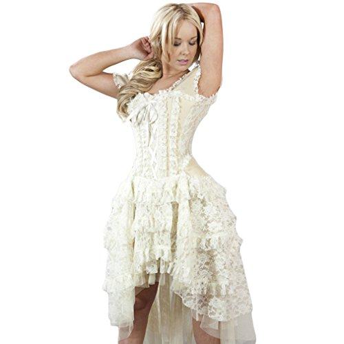 Damen Korsett Creme Kleid Viktorianisch Ophelie Taffeta Dress Burleska BpxqOZwdPw