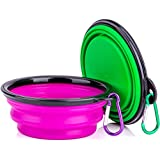 Collapsible Silicone Dog Bowl,set of 2, IDEGG Food Grade Silicone BPA Free, Foldable Expandable Cup Dish for Pet Raised Dog/Cat Food Water Feeding Portable Tralve Camping Bowl (Set of 2, Purple+Green)