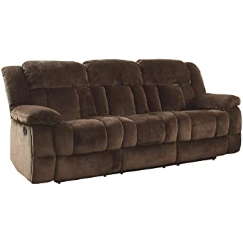 Attirant Homelegance 9636 3 Laurelton Textured Plush Microfiber Motion Reclining Sofa,  Chocolate Brown