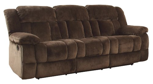 Homelegance 9636-3 Laurelton Textured Plush Microfiber Motion Reclining Sofa, Chocolate Brown Brown Reclining Sofa