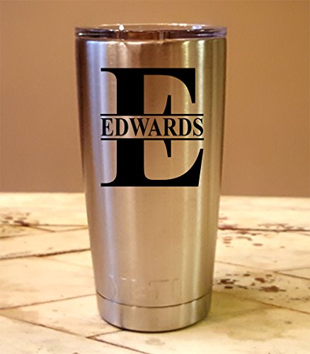 Personalized YETI 20 oz.Tumbler Split Monogram CUSTOM Laser Engraved
