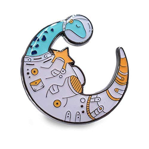 Dinosaur Lapel Pin Space Astronaut Suit Moon Shaped Holding a - Dinosaur Pin