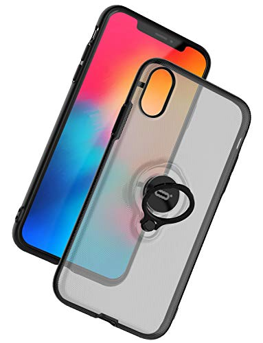 ICONFLANG iPhone XR Case, Ultra-Slim iPhone XR Case Ring Holder Stand Compatible Magnetic Car Mount Cover Case Apple iPhone XR (2018) 6.1 inch - Translucent