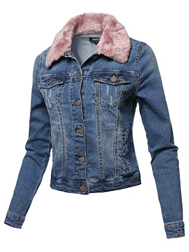 Casual Fur Collar Stretchable Retro Denim Jacket Blush Size M
