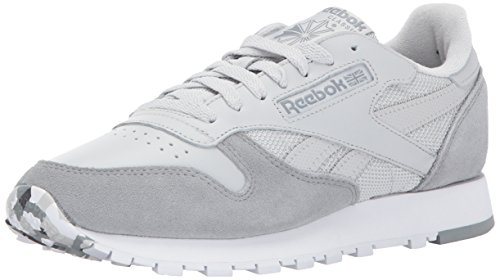 Reebok Men CL Leather MO Fashion Sneaker Skull Grey/Tin Grey/White/Ash Grey/Primal Red