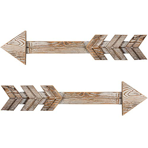(TIMEYARD Arrow Decor, Set of 2 Arrows, Rustic Wood Arrow Sign Wall Decor - Decorative Farmhouse Home Wall Hanging Decor)