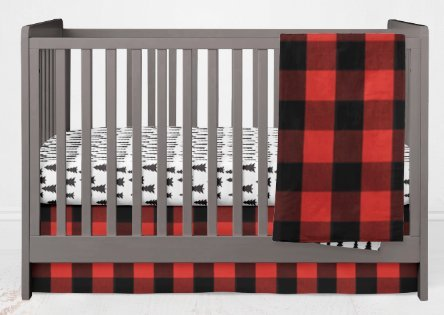 Crib Bedding Set- Forest Adventure - 3 Piece Boy Crib Bedding Set in Red and Black Buffalo Plaid Pine Trees - Handmade in The USA by Alltot