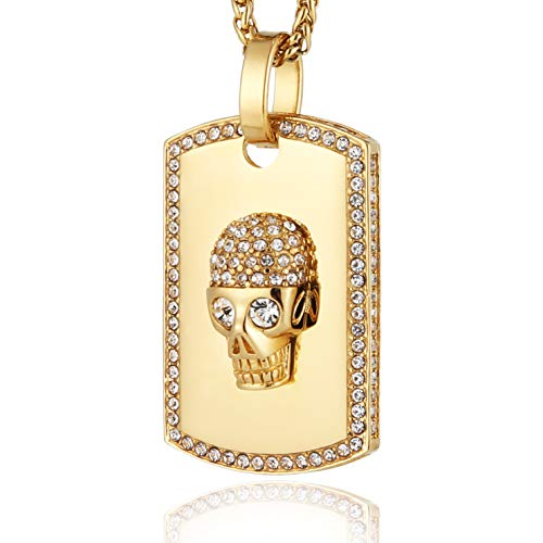 HZMAN 18k Gold Plated Cz Iced Out Skull Dog Tag Stainless Steel Pendant Necklace Hip Hop 24 Inches Chain