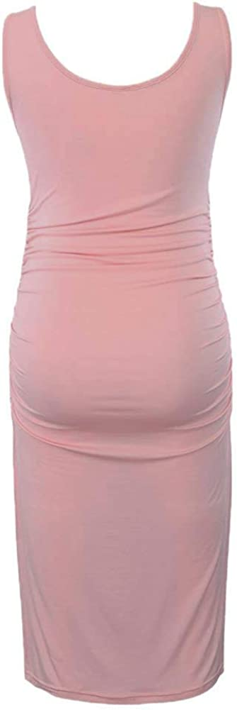 Liu /& Qu Womens Maternity Sleeveless Tank Dresses Side Ruching Bodycon Dress for Daily Wearing or Baby Shower