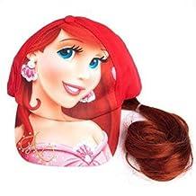 Baseball Cap - Disney - Little Mermaid Ariel w/Hair Wig Cosplay Hat New 178801-3