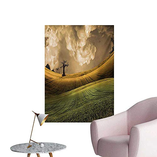 - Anzhutwelve Nature Wallpaper Serene Landscape with The Dramatic Sky and a Single Tree on The Hill Image PrintMulticolor W24 xL36 Art Poster