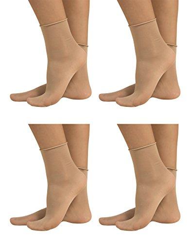 4 Pairs Sheer Pop Socks | Non-Elastic Ankle Sock | 20 Den | Black, Skin | Italian Hosiery | (One Size, Skin) (A Pair Of Silk Stockings Full Text)