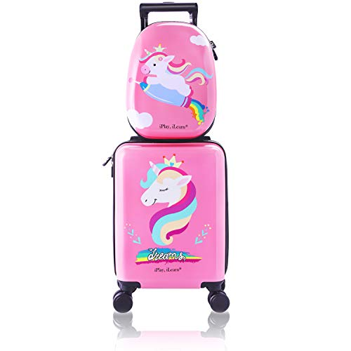 (Unicorn Kids Carry on Luggage Set with Spinner Wheels, Girls Travel Suitcase)