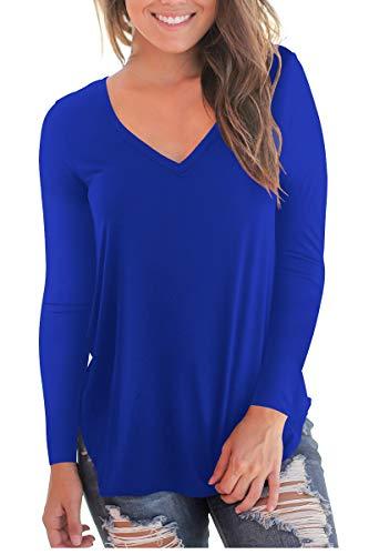 Blue V-neck Long Sleeves - Women's V Neck Long Sleeve Loose Fit T Shirt Soft Tops Royal Blue M