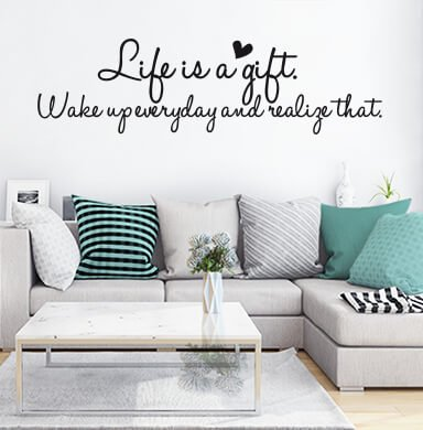 Vinyl Wall Quotes, Wall Decals Quotes, Vinyl Wall Quotes - Life is a gift.. - Art. 7771 - black - Wall-Art US (47''x13'') by Wall-Art.us