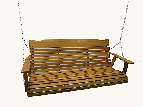 Kilmer Creek 5′ Cedar Porch Swing W/stained Finish, Amish Crafted – Includes Chain & Springs