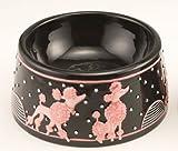 Elevated Porcelain Poodle Pet Bowl For Sale