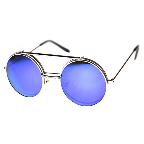 zeroUV - Limited Edition Mirror Flip-Up Lens Round Circle Django Sunglasses (Gold - Flip Up Lenses
