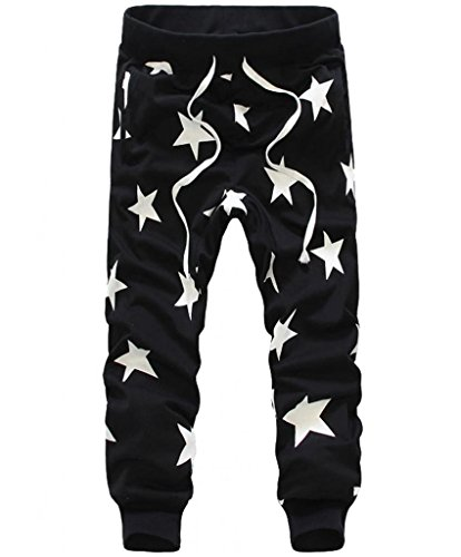 Men's Star Printing Hip Hop Sweat Pants Harem Dance Jogger Baggy Trousers Slack (L, Black)