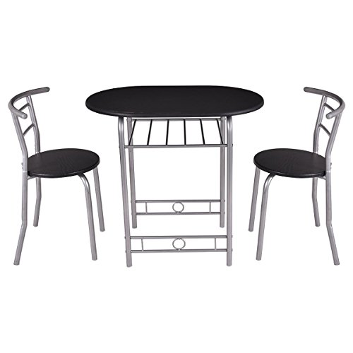 Giantex 3 PCS Bistro Dining Set Table and 2 Chairs Kitchen Furniture Pub Home Restaurant (Silver And Bistro Table Chairs)
