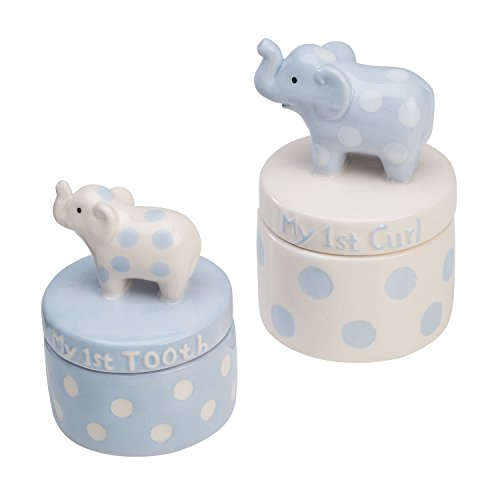 Elegant Baby Ceramic Elephant Tooth and Curl Set, Blue Baby Elephant Ornament