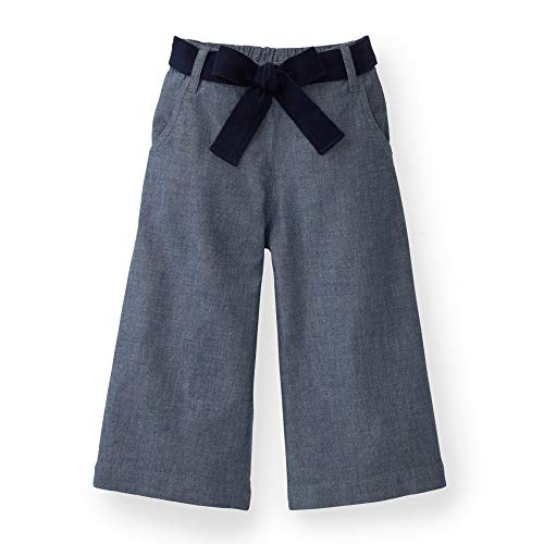 Hope & Henry Girls Chambray Tie Waist Wide Crop Bottoms