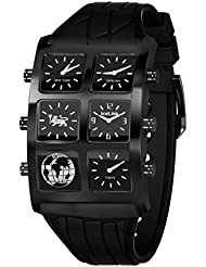 IceLink 'Yerevan Edition' 'Duff' 6 Time Zone Big Case Men's Watch Black Silicone Strap