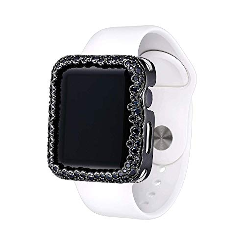 (Matte Black Rhodium Plated Champagne Bubbles Jewelry-Style Apple Watch Case with Spinel Gemstone Border - Large (Fits 42mm iWatch))