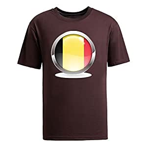 Custom Mens Cotton Short Sleeve Round Neck T-shirt, Printed with World Cup Images brown by Maris's Diary