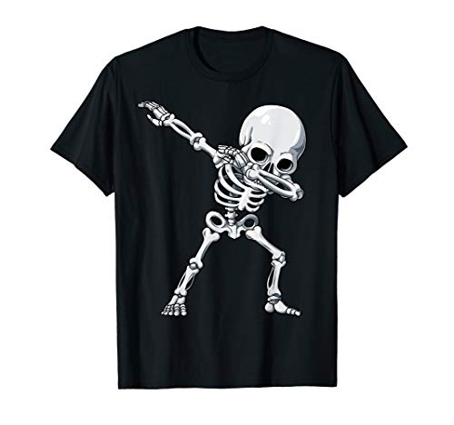 Halloween shirts for Boys Kids Dabbing Skeleton Tee Costume