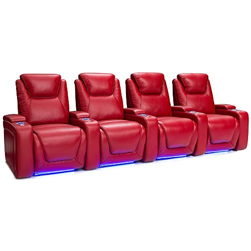 Seatcraft Equinox Home Theater Seating Power Recline Leather (Row of 4, Red) For Sale