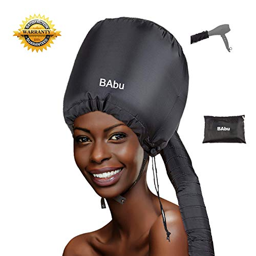 Bonnet Hood Hair Dryer Attachment Soft Adjustable Bonnet Hooded hair dryer Attachment for Natural Curly Textured Hair Care Mask Cap for Drying Styling Curling Deep Conditioning (Black)