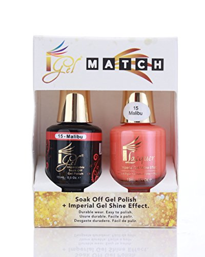 Duo Soak Off Gel + Nail Polish - Igel MATCH - (made in USA) - (Malibu Nail Polish)
