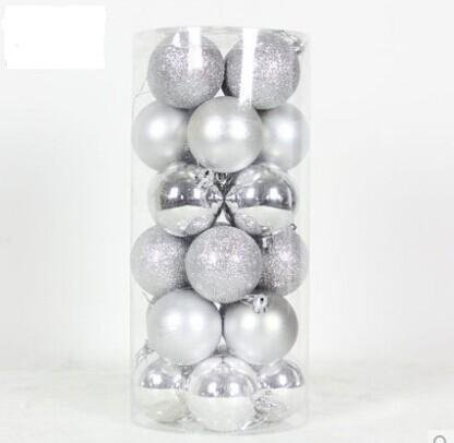 Cmyk® Solid Colored Shatterproof 24pk 2.4-inch (60mm) Christmas Balls Ornament in PVC (Silver)