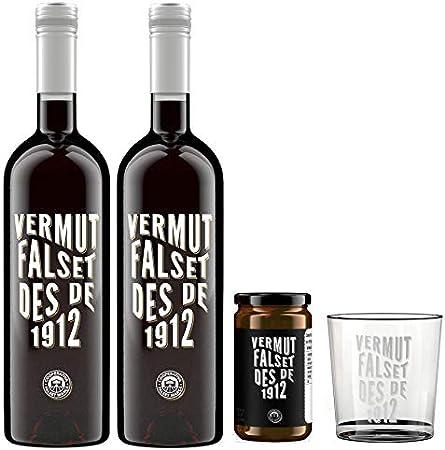 Pack de dos botellas de Vermut Falset Rojo, un bote de aceitunas arbequinas y un vaso serigrafiado.,