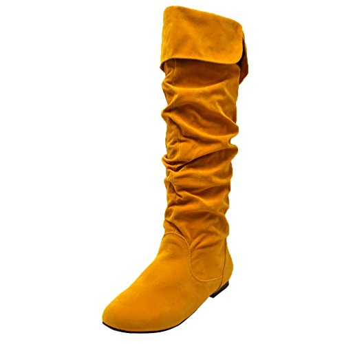 Mustard Yellow Tall Suede Styled Ruched Flat Boots Size 10