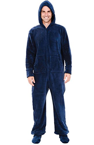 Del Rossa Microfleece Footed Pajamas, Midnight Blue, Small (A0320MBLSM) (Cool Onesies For Men)