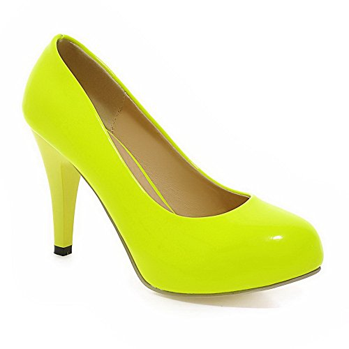 BalaMasa Girls Low-Cut Uppers Pull-On Round Toe Yellow Patent Leather Pumps-Shoes - 8 B(M) US