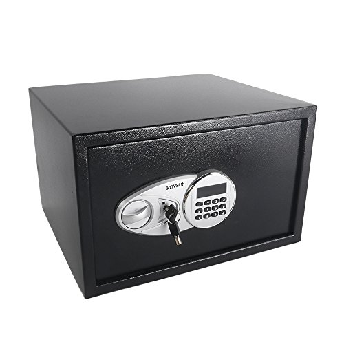 ROVSUN 1.2 Cubic Feet Electronic Security Safe Box Digital Cabinet with Keypad Lock&Solid Steel Construction, Perfect for Home Office Hotel Business Cash Jewelry Wallet Valuable, w/Battery Gift