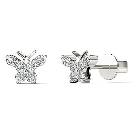 JewelAngel Kids Big Girl's 1/6 Carat TDW Diamond Cute Butterfly Stud Earrings (H-I, I1-I2) 10K White Gold by JewelAngel Kids
