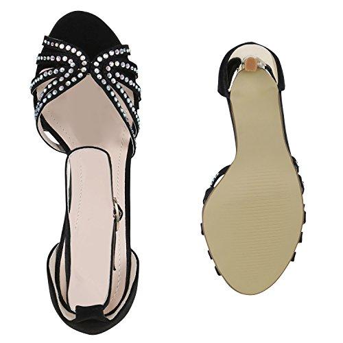 Stiefelparadies Damen Party Strass Sandaletten High Heels Stilettos Sommer Glitzer Schuhe Hochzeit Brautschuhe Flandell Schwarz Steinchen