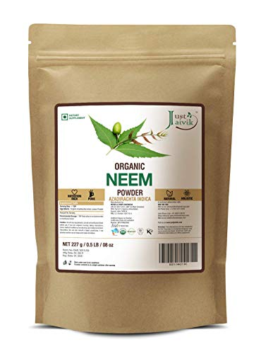 Just Jaivik 100% Organic Neem Leaves Powder - USDA Certified Organic, 227 gms / 1/2 LB Pound / 08 Oz - Azadirachta Indica - Promoting healthy hair and clear skin (AN USDA Organic Certified Herb)