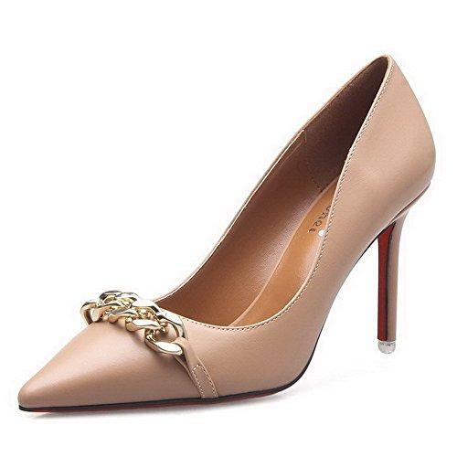 AalarDom Damen Mittler Absatz Spitz Zehe Ziehen Auf Rein Pumps Schuhe mit Wasser Diamanten Nackte Farbe-7CM