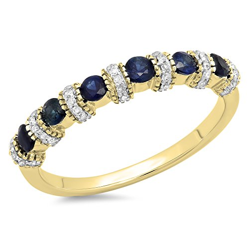 DazzlingRock Collection 14K Yellow Gold Round Blue Sapphire & White Diamond Bridal Wedding Band Anniversary Ring (Size 6) 14k Yellow Sapphire Ring