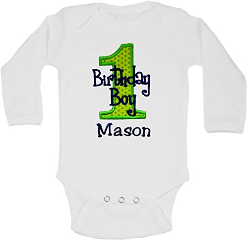 - Embroidered First Birthday Year 1 Onesie Bodysuit for Baby Boys with Your Custom Name (Long Sleeve 24 Months, Green & Blue)