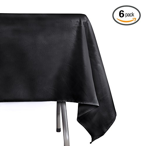 Emart Rectangle Tablecloth, 60 x 102 inch Black 100% Polyester Banquet Wedding Party Picnic Rectangular Table Cloths (6 Pack)